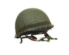 WWII US ARMY M1 MILITARY STEEL HELMET AND CAMOUFLAGE NET COVER AND OD STRAP
