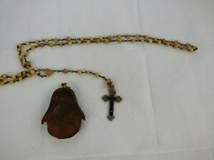 Vintage Antique Crucifix  Rosary Beads Necklace Christian With Leather Pouch