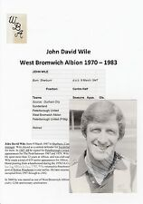 JOHN WILE WEST BROMWICH ALBION 1970-1983 ORIGINAL SIGNED CARD FROM CLUB SHOP