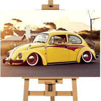 Volkswagen Beetle Yellow Car Canvas Print Wall Art Poster