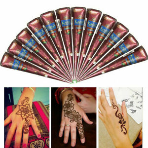 Natural Herbal Henna Cones Temporary Tattoo kit Black Body Art Paint Mehandi Ink