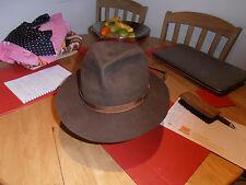 Vtg Christy's Brown Felt Trilby Hat size 6 7/8 56cm