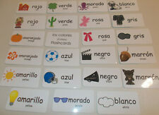 Colors in Spanish Flash Cards. Preschool Foreign Language Picture flash cards.