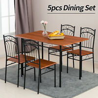 5 Piece Metal Dining Table Set 4 Chairs Wood Top Table Kitchen Furniture Brown
