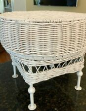 Wicker Footstool Ottoman Stool Side Table Round Footed Mid Century Pouf