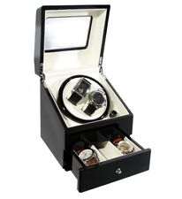 KA073B DELUXE DRAW Time Tutelary Dual Black Watch Winder Box For 2 Automatic UK