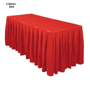5 Meter Red Polyester Table Skirting Skirt Table Cloths Wedding Events Party