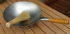 Wok  36 cm Gastronomie runder Boden  Holzgriff  Incl. Bambus-Bürste