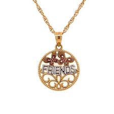 Custom Design 14K Tri Color Gold FRIENDS Disc Charm Pendant 1.1 Gram