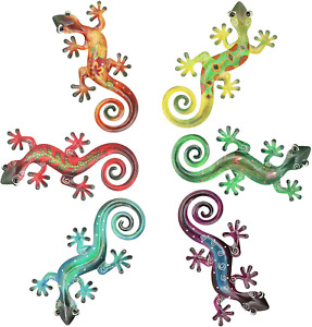 Metal Gecko Wall Decor Sculpture Hanging Art Colors 8.5 x 4.3 inches 6 Pack