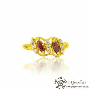 22ct 916 Indian Yellow Gold Ring with Garnet and CZ stones Size M1/2 SR126