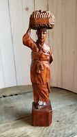 Korean Figurine w Child Vintage Carved Wooden Statue Asian Antique Home Decor