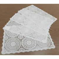 Crocheted Doily Style Placemats in White, Coated in Clear PVC , Set of 4