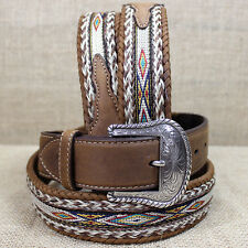 36 inch TONY LAMA BROWN MEN'S BADLANDS HORSE HAIR WITH RIBBON INLAY LEATHER BELT