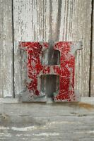 FANTASTIC VINTAGE STYLE METAL 3D RED H LETTER FONT SHOP SIGN WALL PLAQUE