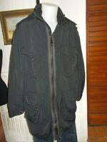 Veste manteau long  lourd chaud IKKS XL 54/56 polyamide noir brodé logo capuche