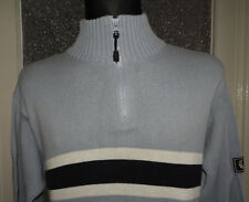 Fred Perry Men's 1/4 Zip Blue Cardigan Sweater Jumper Size M