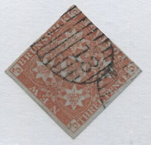 New Brunswick 1851 3d red nice used 4 margin example