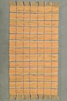 """Handwoven Carpet Cotton Kilim Checked Dhurrie Floor Area Rug 1'7""""X3'1"""" Front Mat"""