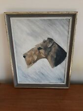 Mid Century Airedale Terrier dog acrylic painting, dog picture, airedale dog
