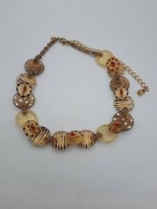 "Orna Lalo Fashion Necklace Resin Gold tone Choker Necklace 15-21"""