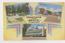 Bristol,VT.3 Views-Commons,Main Street & Inn,Addison County,Linen,c.1940s