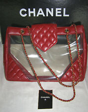 CHANEL JUMBO-XL QUILTED RED LEATHER SHOPPER TOTE BAG w/CLEAR SIDES+DOUBL STRAPS