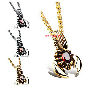 Large Red Stone Stainless Steel Men's Biker Scorpion Pendant Necklace Free Chain
