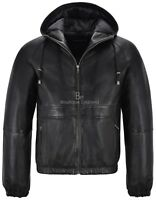Mens Hooded Leather Jacket Black Fitted Stylish Sports Real Leather Hoodie 2113