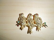 Vintage 3 Birds Singing on Branch Christmas Pin Gold Tone With Rhinestones
