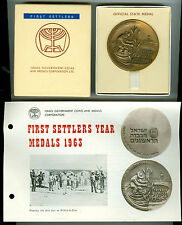 1963 BZ First Settlers Year Israel Official State Medal w/Box & Paper Flyer