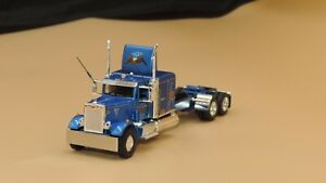 "Dcp Custom stretched frame blue Western Peterbilt 351 60""sleeper tractor 1/64"