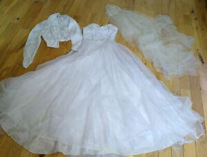 Vintage 50s Wedding Dress, jacket, veil & tiara