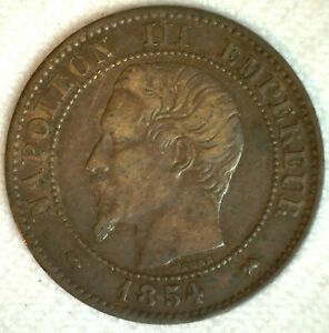 1854-B  2 Centimes Bronze Coin Extra Fine France Napoleon III