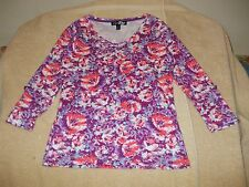 Lena Size S Pullover Purple Coral White Aqua Floral Knit Top, 3/4 sleeves - NWT