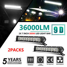 Pair 7 inch LED Light Bar 2 Rows Spot Beam High Penetration Fog Lamp UTE ATV SUV