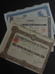 SOUTH EAST ASIA : 4 Old Stock Certificates from Indochina.