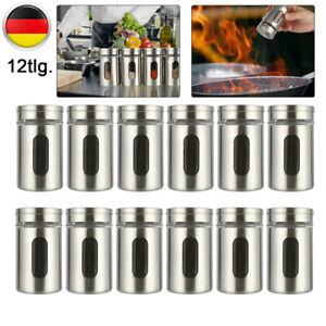 12 Gewürzstreuer Edelstahl Pfeffer Salz Gläser Gewürz Streuer Box Dosen Glas Set