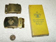Vintage BSA Cub Scout Boy Scouts Lot - Bobcat Badge, Sharpening Stone, Buckles