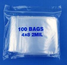 "100 4 x 8"" 2mil Reclosable Poly Clear Ziplock Zip Lock Bags Self Locking Zipper"