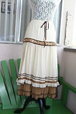 NYC BOUTIQUE Womens Beige+Brown Boho Flowy Beaded Ruffled Long Maxi Skirt XS/S