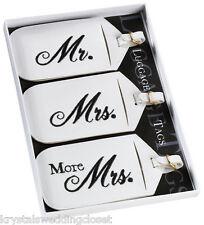 Set of 3 Mr. & Mrs. Luggage Tags Wedding Honeymoon Gift