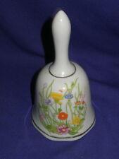 "Vintage Wild Flowers Porcelain Collectors Bell 5"" Circa 1970s-1980s"