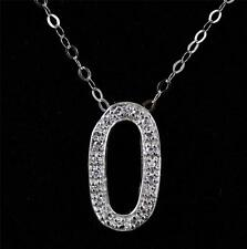 """Solid 925 Sterling Silver & CZ Initial Letter O Pendant Necklace jewellery 18"""""""