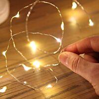 20er LED Lichterkette Drahtlichterkette Leuchtdraht Deko Micro warmweiss DIY DE