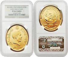 Jordan 1969 (AH1389) Pope Paul Vi Visit 10 Dinars Gold NGC PF66 CAMEO