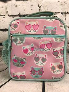 "Pottery Barn Kids Mackenzie Pink Blue Cool Cat Lunch Box Monogram ""Coco"""