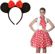 Women Crazy Chick Polka Dot Skirt + Cartoon MINNIE MOUSE EARS WITH RED BOW
