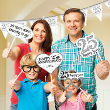 12 Happy Silver 25th Wedding Anniversary Party Fun Photo Booth Selfie Props