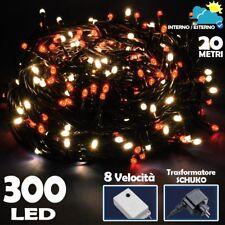Catena Luminosa 300 Luci LED Lucciole Bianco Caldo e Rosso 8 Funzioni x Esterno